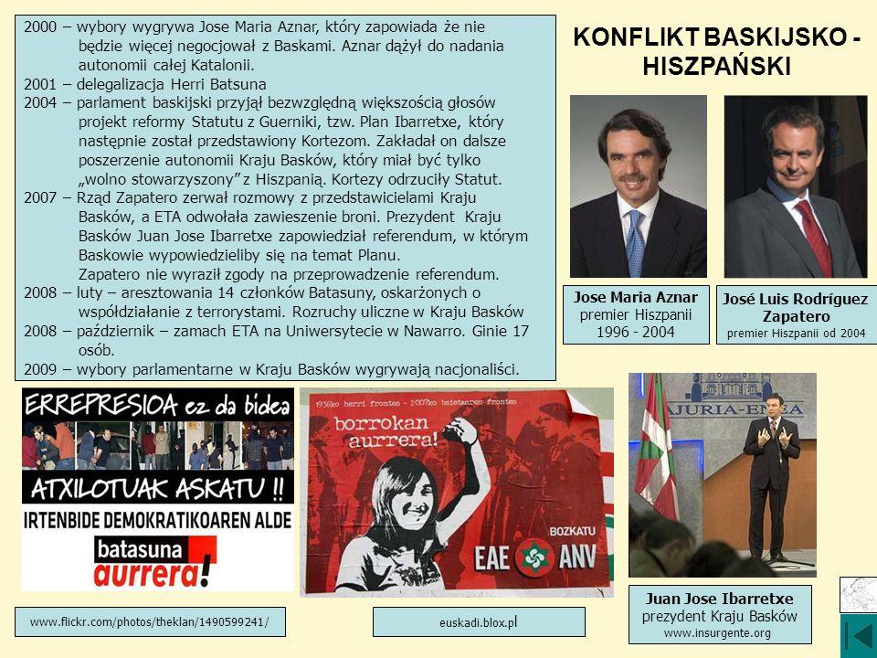 KONFLIKT BASKIJSKO - HISZPAŃSKI 2000 – wybory wygrywa Jose Maria Aznar, który zapowiada że nie będzie więcej negocjował z Baskami. Aznar dążył do nada
