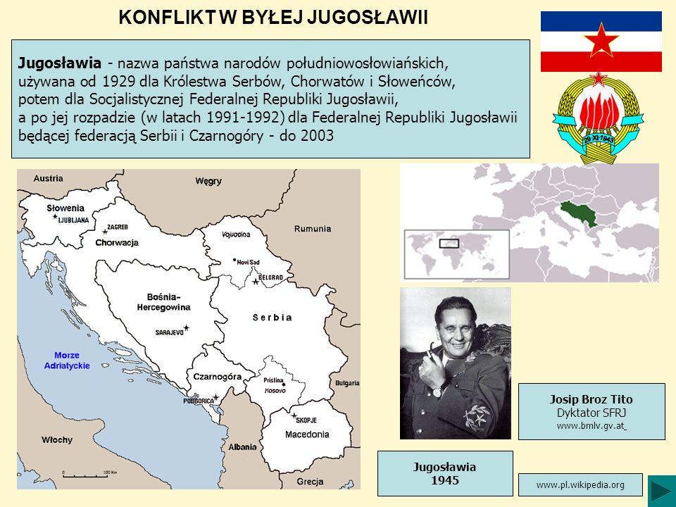 KONFLIKT W BYŁEJ JUGOSŁAWII Jugosławia - nazwa państwa narodów południowosłowiańskich, używana od 1929 dla Królestwa Serbów, Chorwatów i Słoweńców, potem dla Socjalistycznej Federalnej Republiki Jugosławii, a po jej rozpadzie (w latach 1991-1992) dla Federalnej Republiki Jugosławii będącej federacją Serbii i Czarnogóry - do 2003 Jugosławia 1945 Josip Broz Tito Dyktator SFRJ www.bmlv.gv.at www.pl.wikipedia.org