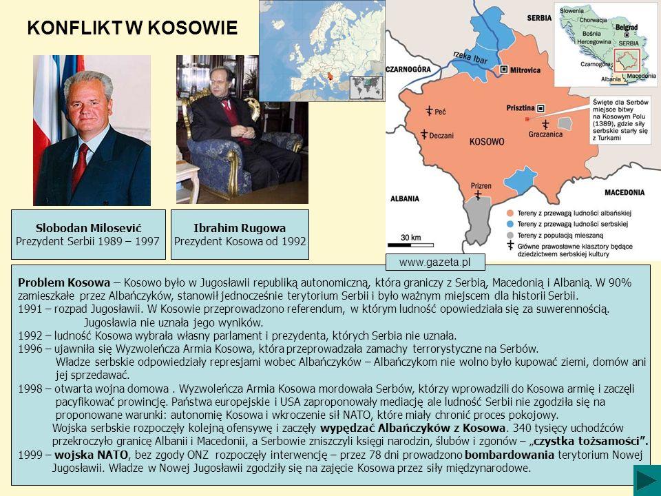 KONFLIKT W KOSOWIE www.wikipedia.pl Problem Kosowa – Kosowo było w Jugosławii republiką autonomiczną, która graniczy z Serbią, Macedonią i Albanią. W