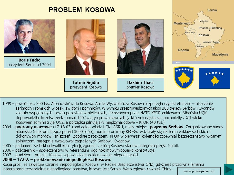 PROBLEM KOSOWA 1999 – powrót ok.. 300 tys. Albańczyków do Kosowa. Armia Wyzwoleńcza Kosowa rozpoczęła czystki etniczne – niszczenie serbskich i romski