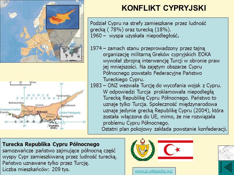 KONFLIKT CYPRYJSKI Turecka Republika Cypru Północnego samozwańcze państwo zajmujące północną część wyspy Cypr zamieszkiwaną przez ludność turecką. Pań