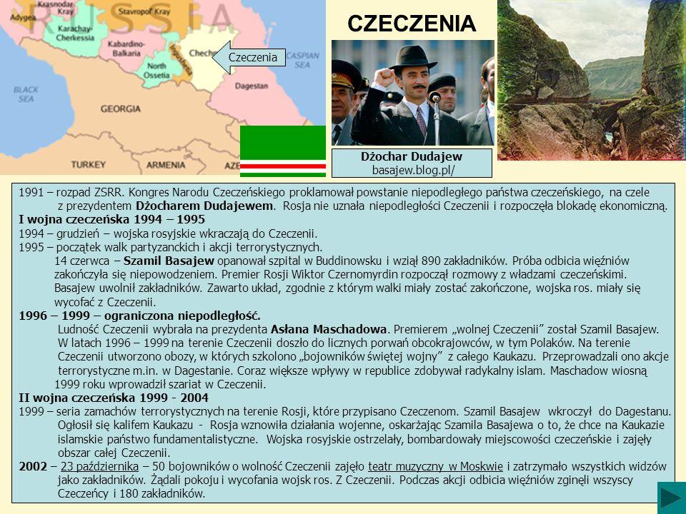 CZECZENIA Czeczenia 1991 – rozpad ZSRR. Kongres Narodu Czeczeńskiego proklamował powstanie niepodległego państwa czeczeńskiego, na czele z prezydentem
