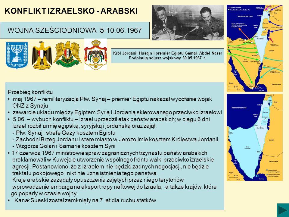KONFLIKT IZRAELSKO - ARABSKI WOJNA SZEŚCIODNIOWA 5-10.06.1967 Przebieg konfliktu maj 1967 – remilitaryzacja Płw. Synaj – premier Egiptu nakazał wycofa