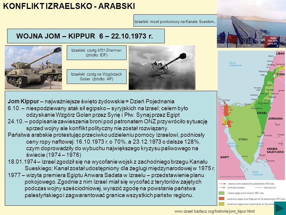 KONFLIKT IZRAELSKO - ARABSKI WOJNA JOM – KIPPUR 6 – 22.10.1973 r. Jom Kippur – najważniejsze święto żydowskie = Dzień Pojednania 6.10. – niespodziewan