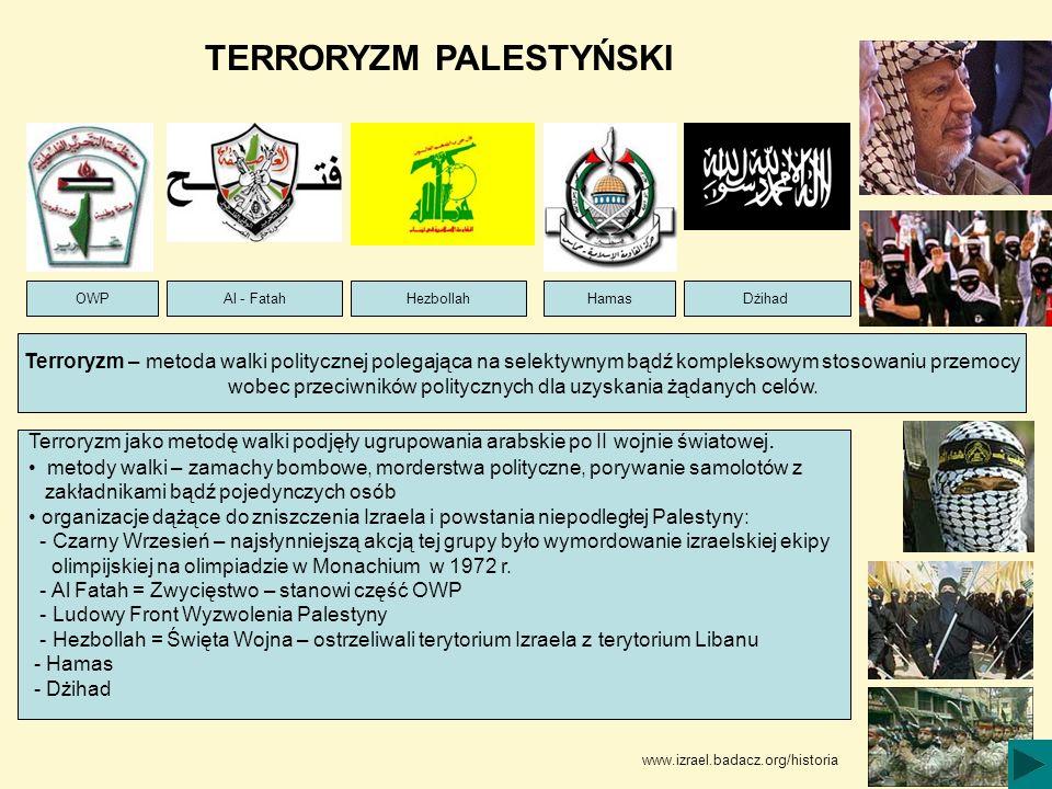 TERRORYZM PALESTYŃSKI Terroryzm – metoda walki politycznej polegająca na selektywnym bądź kompleksowym stosowaniu przemocy wobec przeciwników politycz