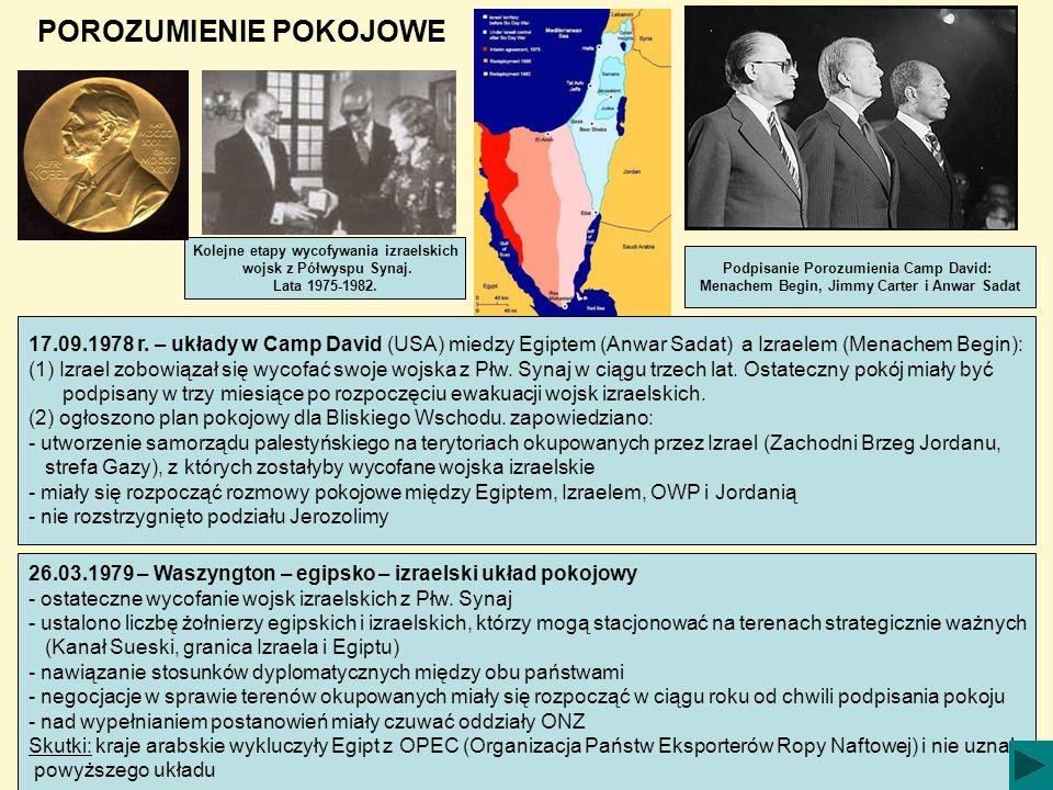 POROZUMIENIE POKOJOWE 17.09.1978 r. – układy w Camp David (USA) miedzy Egiptem (Anwar Sadat) a Izraelem (Menachem Begin): (1) Izrael zobowiązał się wy