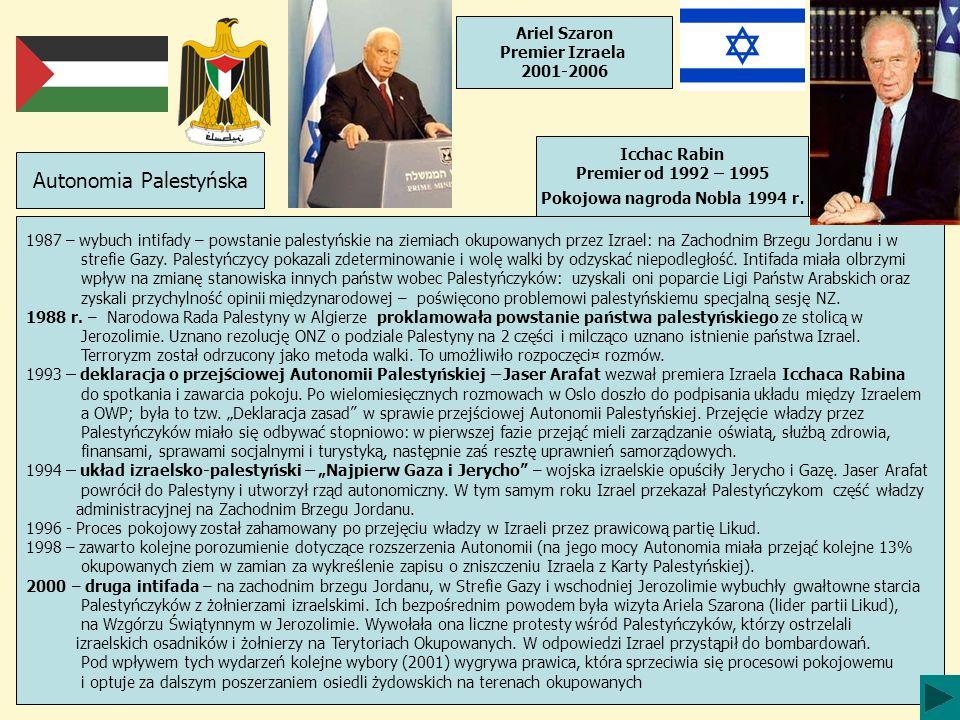 1987 – wybuch intifady – powstanie palestyńskie na ziemiach okupowanych przez Izrael: na Zachodnim Brzegu Jordanu i w strefie Gazy. Palestyńczycy poka