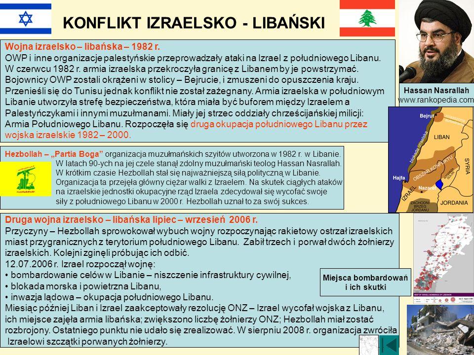 KONFLIKT IZRAELSKO - LIBAŃSKI Wojna izraelsko – libańska – 1982 r. OWP i inne organizacje palestyńskie przeprowadzały ataki na Izrael z południowego L