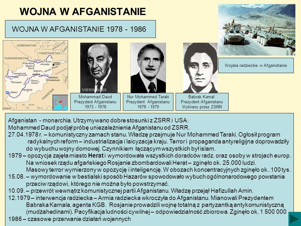 WOJNA W AFGANISTANIE WOJNA W AFGANISTANIE 1978 - 1986 Afganistan - monarchia. Utrzymywano dobre stosunki z ZSRR i USA. Mohammed Daud podjął próbę unie