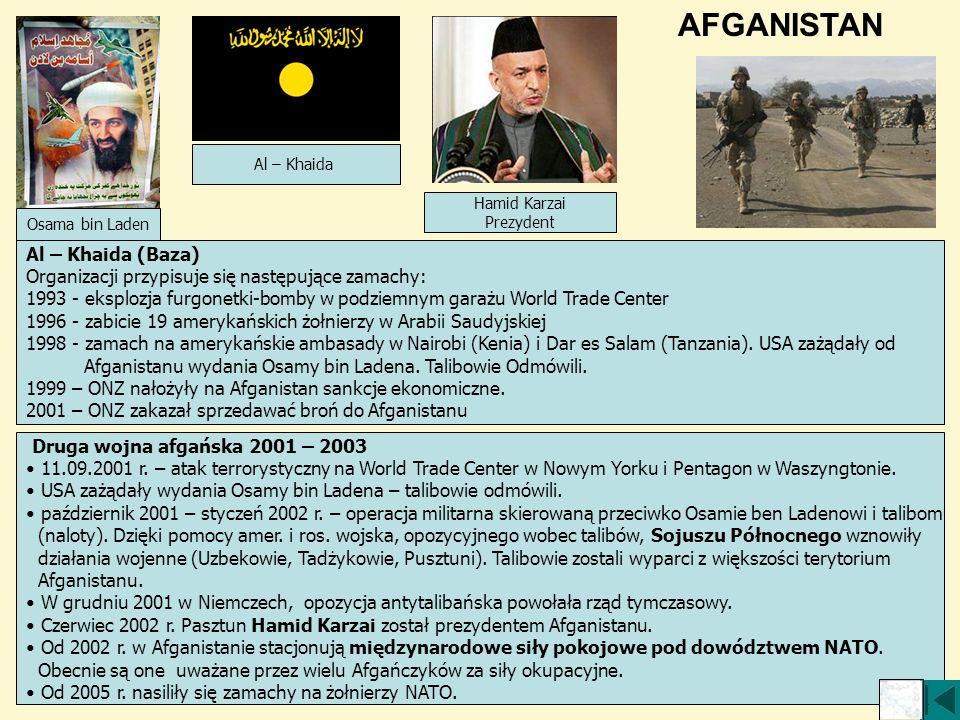 Druga wojna afgańska 2001 – 2003 11.09.2001 r. – atak terrorystyczny na World Trade Center w Nowym Yorku i Pentagon w Waszyngtonie. USA zażądały wydan
