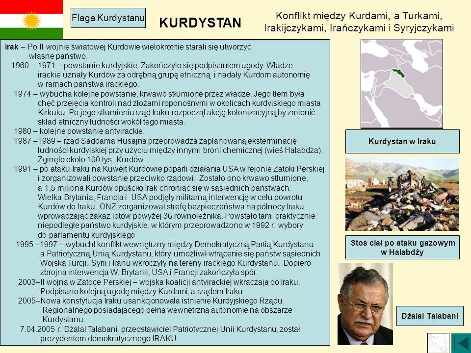 KURDYSTAN Konflikt między Kurdami, a Turkami, Irakijczykami, Irańczykami i Syryjczykami Flaga Kurdystanu Irak – Po II wojnie światowej Kurdowie wielokrotnie starali się utworzyć własne państwo.