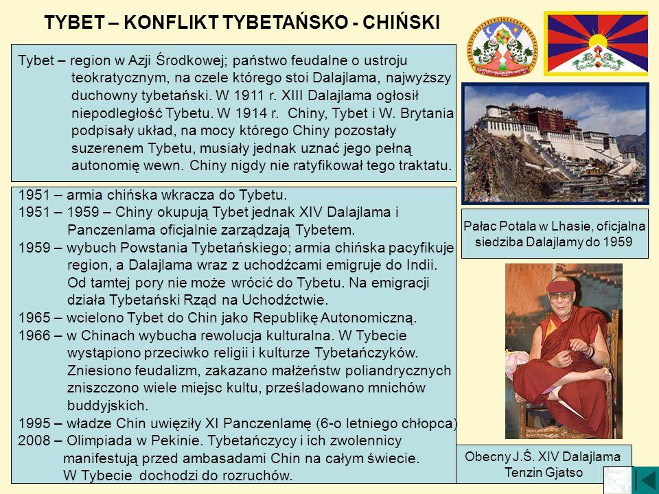 TYBET – KONFLIKT TYBETAŃSKO - CHIŃSKI Pałac Potala w Lhasie, oficjalna siedziba Dalajlamy do 1959 Obecny J.Ś. XIV Dalajlama Tenzin Gjatso Tybet – regi
