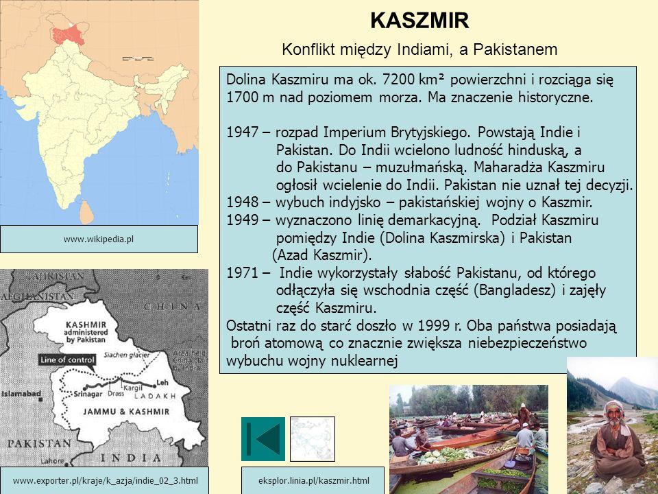 KASZMIR Konflikt między Indiami, a Pakistanem Dolina Kaszmiru ma ok. 7200 km² powierzchni i rozciąga się 1700 m nad poziomem morza. Ma znaczenie histo