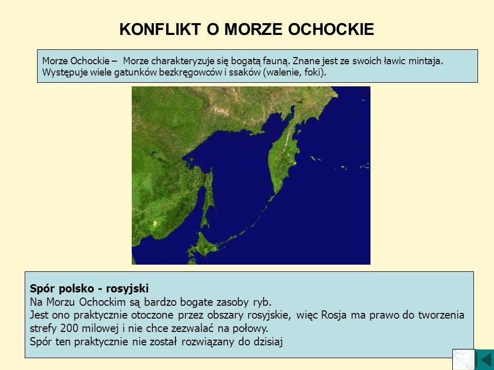 KONFLIKT O MORZE OCHOCKIE Morze Ochockie – Morze charakteryzuje się bogatą fauną. Znane jest ze swoich ławic mintaja. Występuje wiele gatunków bezkręg