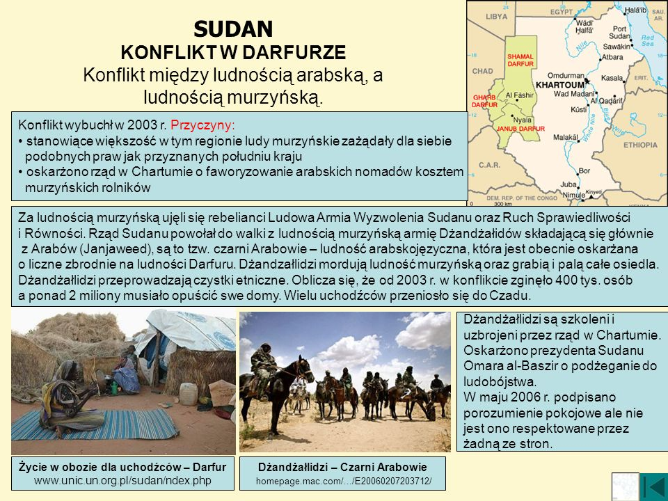 SUDAN KONFLIKT W DARFURZE Konflikt między ludnością arabską, a ludnością murzyńską. Konflikt wybuchł w 2003 r. Przyczyny: stanowiące większość w tym r