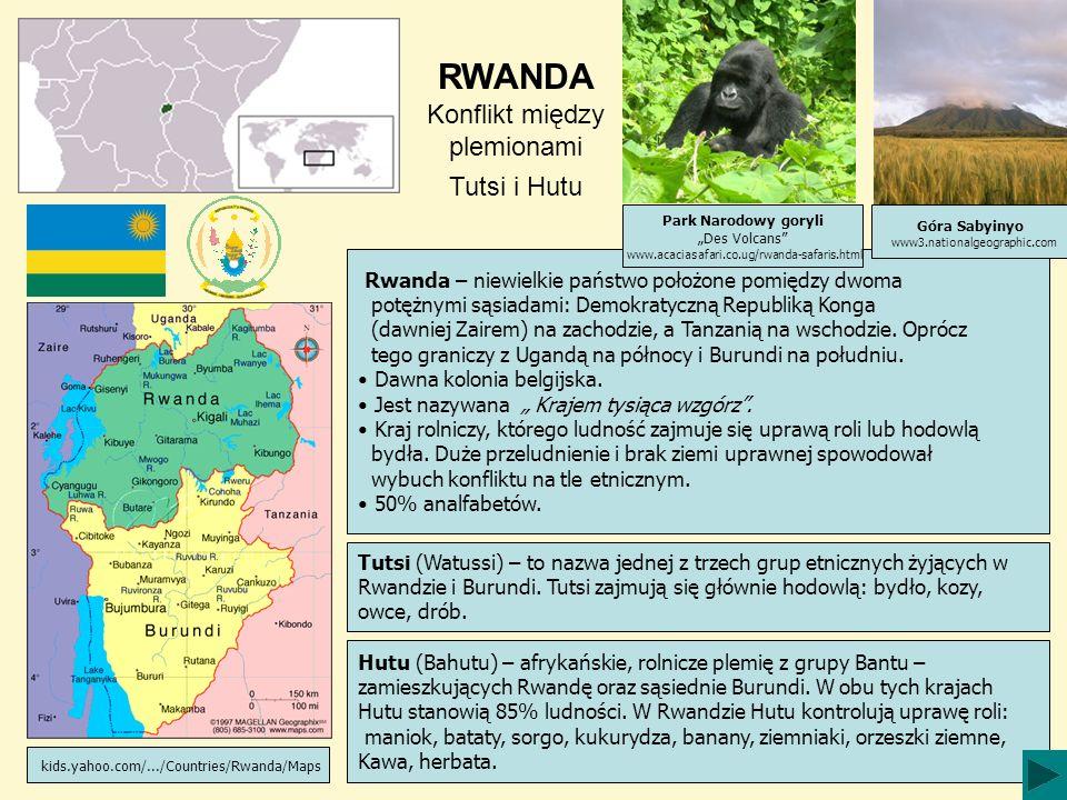 RWANDA Konflikt między plemionami Tutsi i Hutu Tutsi (Watussi) – to nazwa jednej z trzech grup etnicznych żyjących w Rwandzie i Burundi. Tutsi zajmują