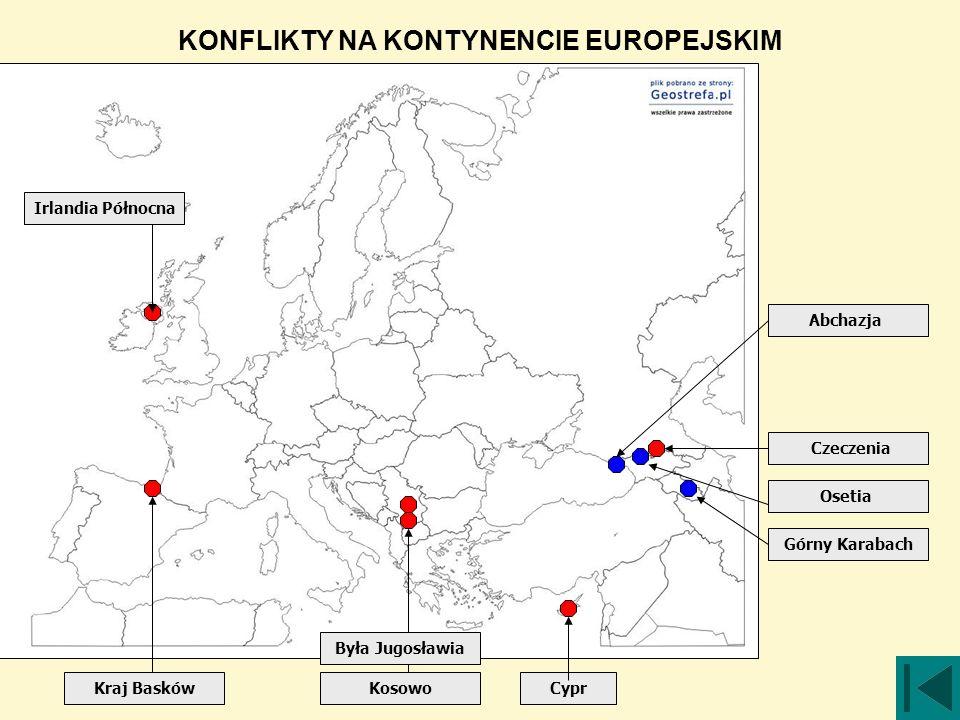 Cypr Osetia Czeczenia Górny Karabach Kraj Basków Irlandia Północna Kosowo Abchazja KONFLIKTY NA KONTYNENCIE EUROPEJSKIM Była Jugosławia