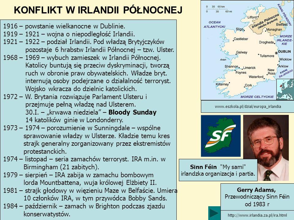 KONFLIKT W IRLANDII PÓŁNOCNEJ Gerry Adams, Przewodniczący Sinn Féin od 1983 r http://www.irlandia.za.pl/ira.html www.eszkola.pl/dzial/europa_irlandia 1916 – powstanie wielkanocne w Dublinie.