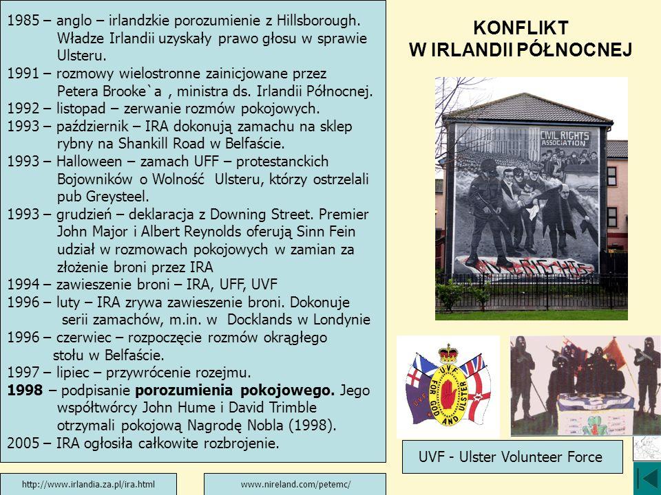 KONFLIKT W IRLANDII PÓŁNOCNEJ 1985 – anglo – irlandzkie porozumienie z Hillsborough. Władze Irlandii uzyskały prawo głosu w sprawie Ulsteru. 1991 – ro