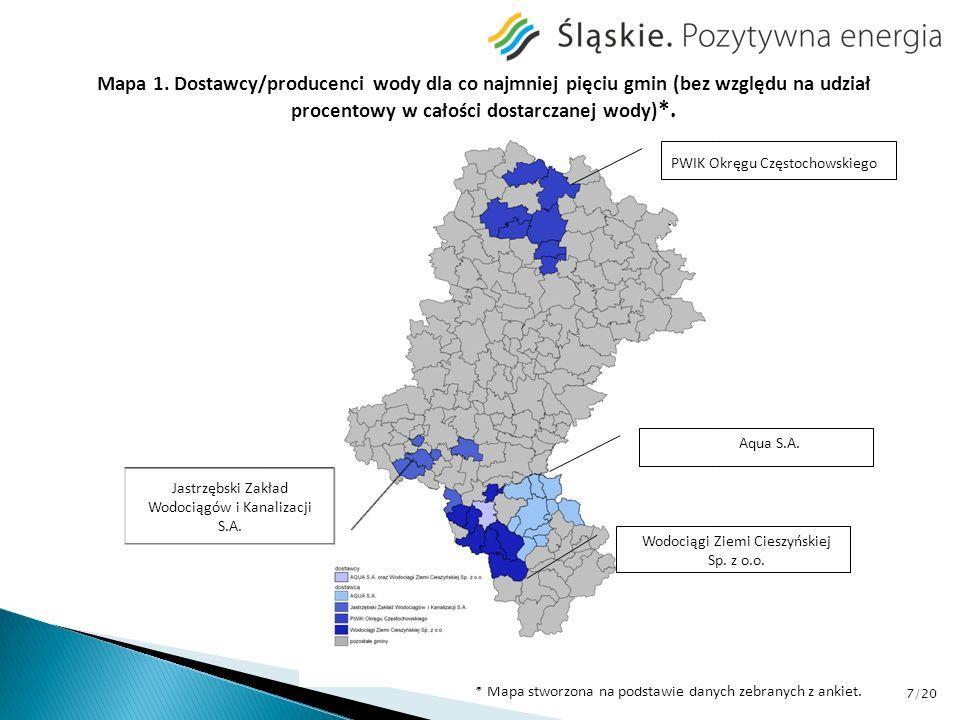 Mapa 1. Dostawcy/producenci wody dla co najmniej pięciu gmin (bez względu na udział procentowy w całości dostarczanej wody) *. * Mapa stworzona na pod