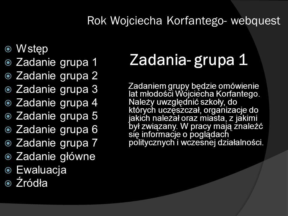 Zadania- grupa 1 Zadaniem grupy będzie omówienie lat młodości Wojciecha Korfantego. Należy uwzględnić szkoły, do których uczęszczał, organizacje do ja