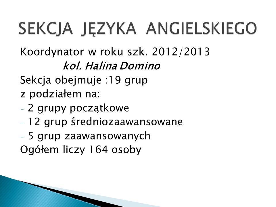 Koordynator w roku szk. 2012/2013 kol. Halina Domino Sekcja obejmuje :19 grup z podziałem na: - 2 grupy początkowe - 12 grup średniozaawansowane - 5 g