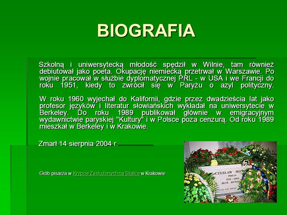 BIOGRAFIA Szkolną i uniwersytecką młodość spędził w Wilnie, tam również debiutował jako poeta. Okupację niemiecką przetrwał w Warszawie. Po wojnie pra