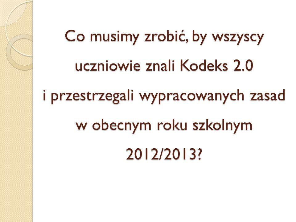 Co musimy zrobić, by wszyscy uczniowie znali Kodeks 2.0 i przestrzegali wypracowanych zasad w obecnym roku szkolnym 2012/2013