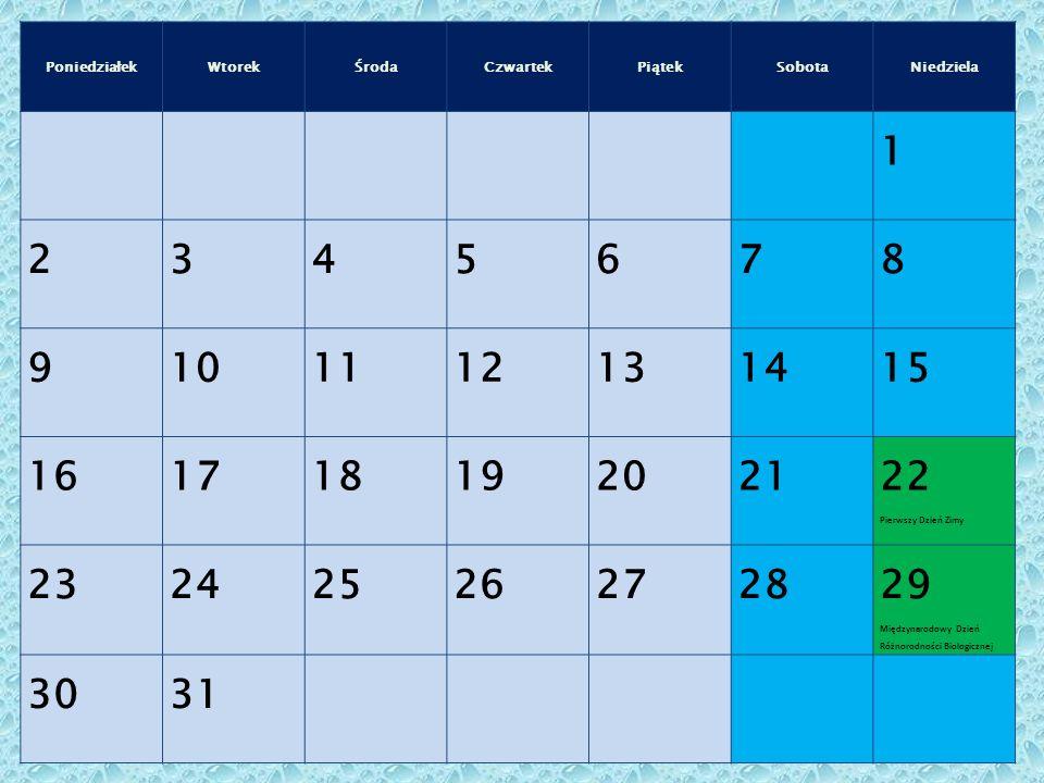 PoniedziałekWtorekŚrodaCzwartekPiątekSobotaNiedziela 1 2345678 9101112131415 161718192021 22 Pierwszy Dzień Zimy 232425262728 29 Międzynarodowy Dzień Różnorodności Biologicznej 3031