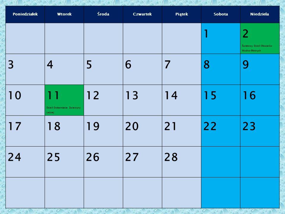 PoniedziałekWtorekŚrodaCzwartekPiątekSobotaNiedziela 1 2 Światowy Dzień Obszarów Wodno-Błotnych 3456789 10 11 Dzień Dokarmiania Zwierzyny Leśnej 1213141516 17181920212223 2425262728