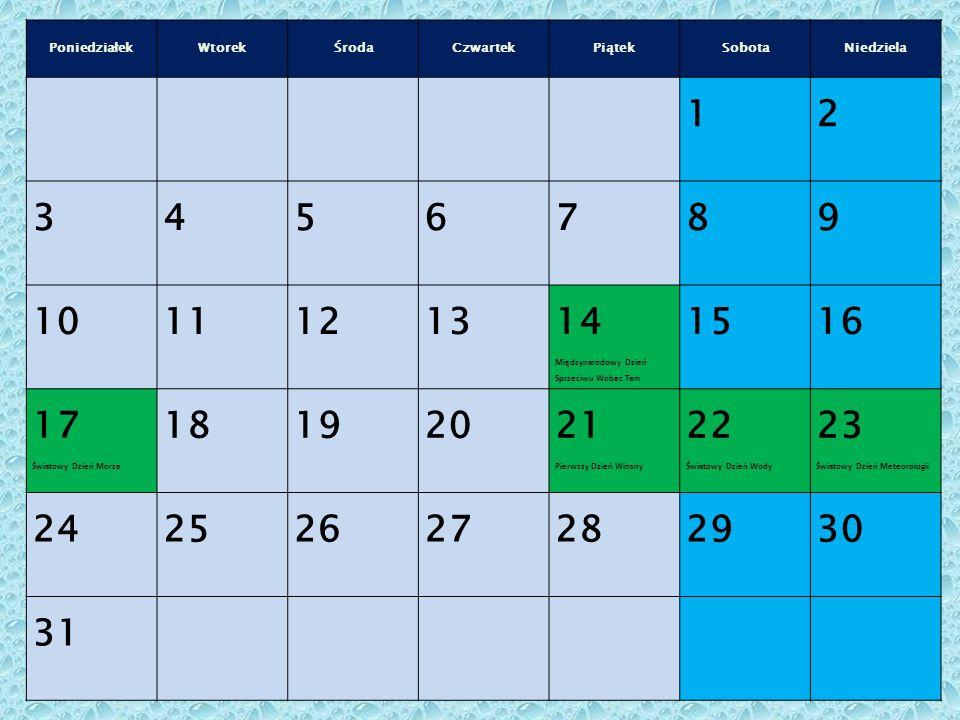 PoniedziałekWtorekŚrodaCzwartekPiątekSobotaNiedziela 12 3456789 10111213 14 Międzynarodowy Dzień Sprzeciwu Wobec Tam 1516 17 Światowy Dzień Morza 181920 21 Pierwszy Dzień Wiosny 22 Światowy Dzień Wody 23 Światowy Dzień Meteorologii 24252627282930 31