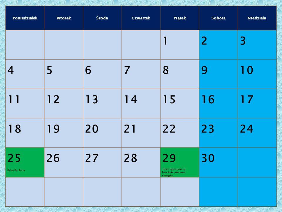 PoniedziałekWtorekŚrodaCzwartekPiątekSobotaNiedziela 123 45678910 11121314151617 18192021222324 25 Dzień Bez Futra 262728 29 Dzień ogłoszenia św.