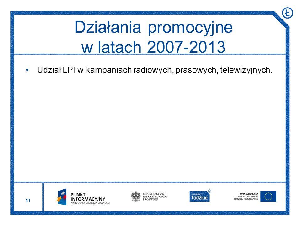 11 Udział LPI w kampaniach radiowych, prasowych, telewizyjnych. Działania promocyjne w latach 2007-2013