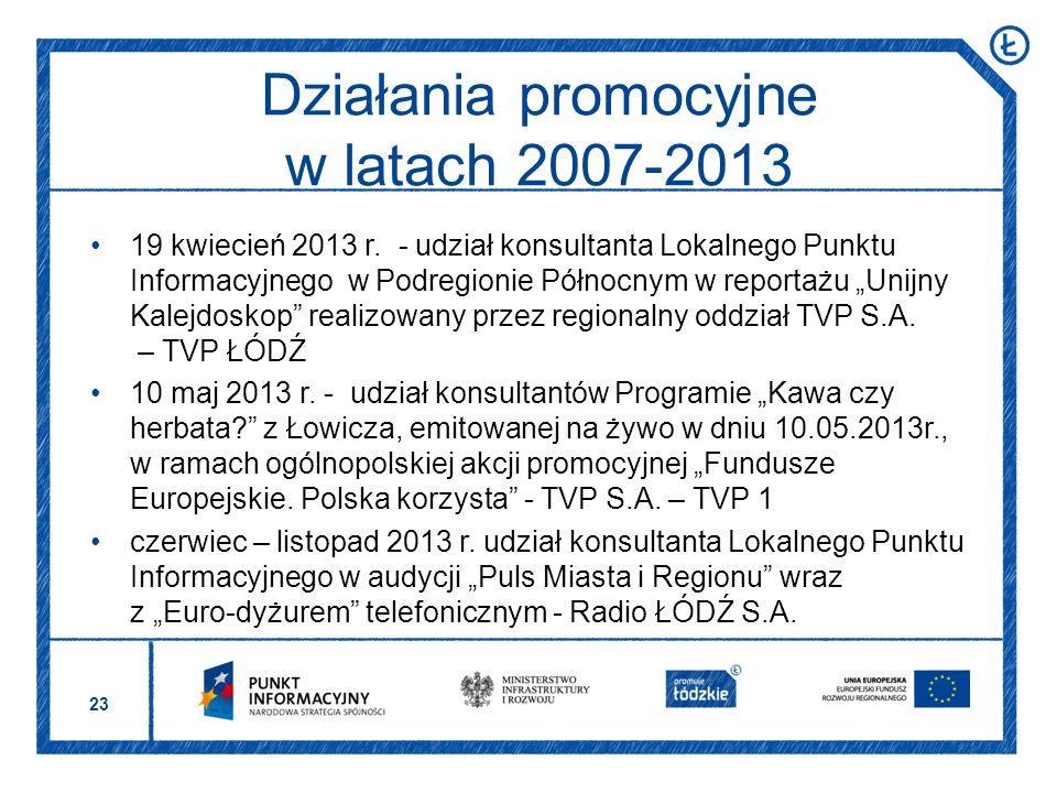23 19 kwiecień 2013 r. - udział konsultanta Lokalnego Punktu Informacyjnego w Podregionie Północnym w reportażu Unijny Kalejdoskop realizowany przez r