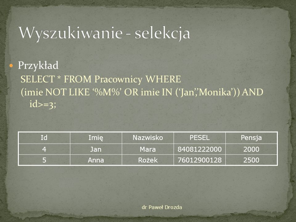 Przykład SELECT * FROM Pracownicy WHERE (imie NOT LIKE %M% OR imie IN (Jan,Monika)) AND id>=3; dr Paweł Drozda IdImięNazwiskoPESELPensja 4JanMara840812220002000 5AnnaRożek760129001282500