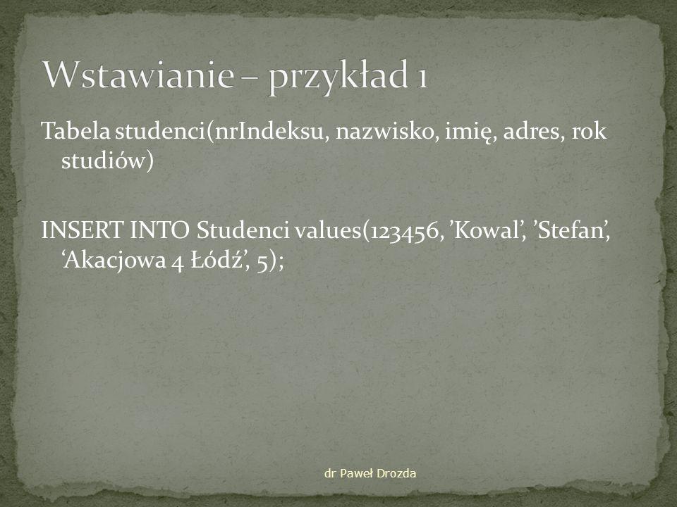 INSERT INTO tabela(pole1, pole2, …,polek) VALUES (wart1, wart2, …, wartk); Do pole1 wstawiana wart1 itd.