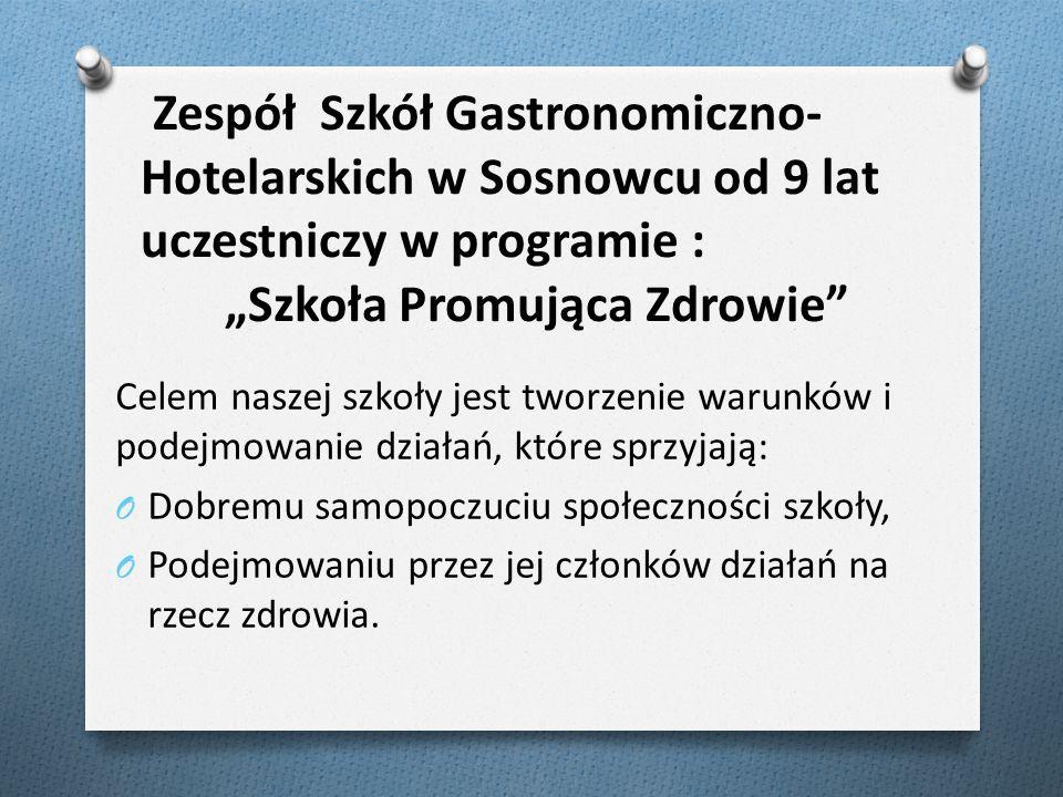Zespół Szkół Gastronomiczno- Hotelarskich w Sosnowcu od 9 lat uczestniczy w programie : Szkoła Promująca Zdrowie Celem naszej szkoły jest tworzenie wa