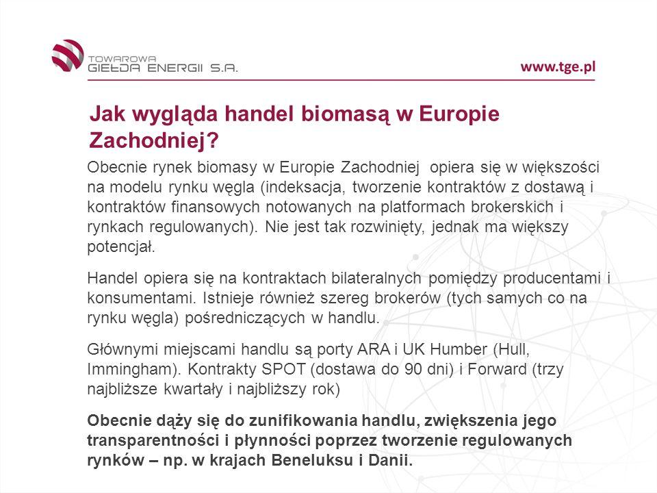 Jak wygląda handel biomasą w Europie Zachodniej? Obecnie rynek biomasy w Europie Zachodniej opiera się w większości na modelu rynku węgla (indeksacja,