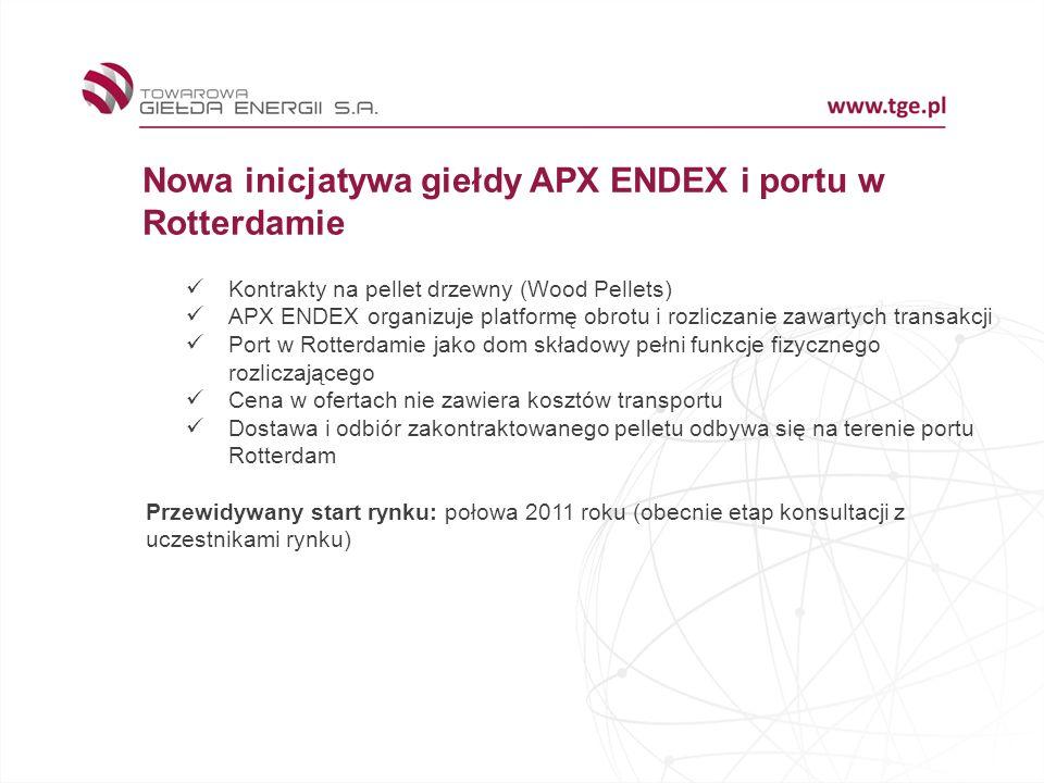 Nowa inicjatywa giełdy APX ENDEX i portu w Rotterdamie Kontrakty na pellet drzewny (Wood Pellets) APX ENDEX organizuje platformę obrotu i rozliczanie zawartych transakcji Port w Rotterdamie jako dom składowy pełni funkcje fizycznego rozliczającego Cena w ofertach nie zawiera kosztów transportu Dostawa i odbiór zakontraktowanego pelletu odbywa się na terenie portu Rotterdam Przewidywany start rynku: połowa 2011 roku (obecnie etap konsultacji z uczestnikami rynku)