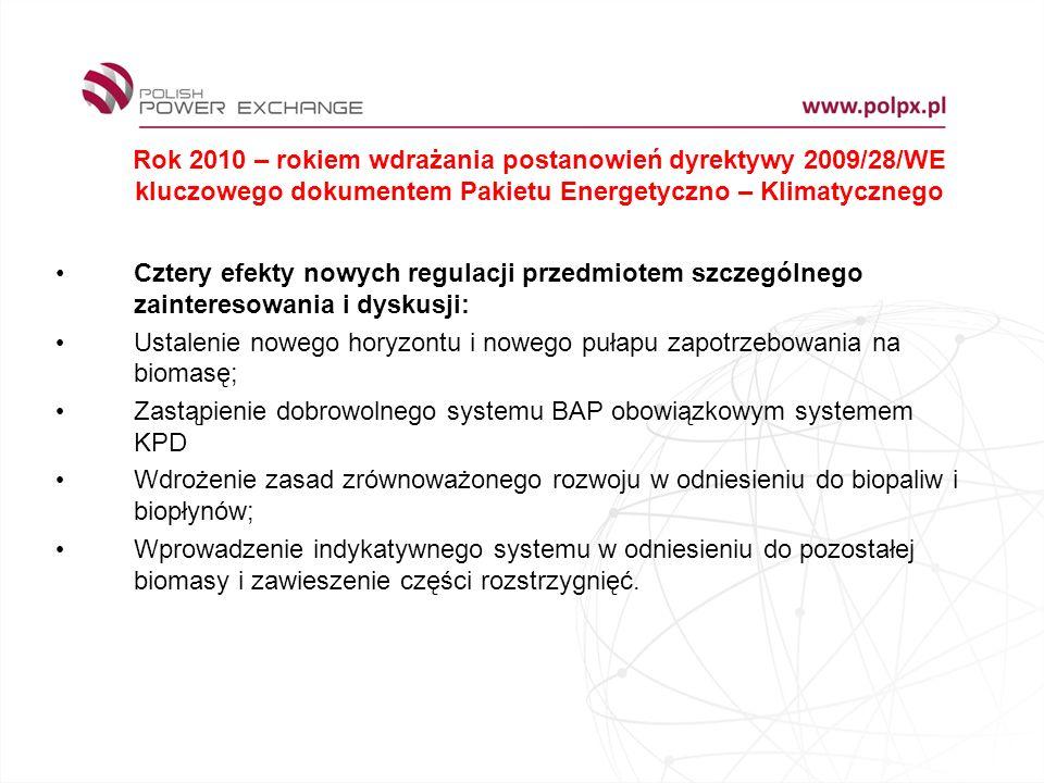 Rok 2010 – rokiem wdrażania postanowień dyrektywy 2009/28/WE kluczowego dokumentem Pakietu Energetyczno – Klimatycznego Cztery efekty nowych regulacji przedmiotem szczególnego zainteresowania i dyskusji: Ustalenie nowego horyzontu i nowego pułapu zapotrzebowania na biomasę; Zastąpienie dobrowolnego systemu BAP obowiązkowym systemem KPD Wdrożenie zasad zrównoważonego rozwoju w odniesieniu do biopaliw i biopłynów; Wprowadzenie indykatywnego systemu w odniesieniu do pozostałej biomasy i zawieszenie części rozstrzygnięć.
