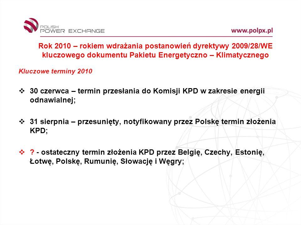 Rok 2010 – rokiem wdrażania postanowień dyrektywy 2009/28/WE kluczowego dokumentu Pakietu Energetyczno – Klimatycznego Kluczowe terminy 2010 30 czerwca – termin przesłania do Komisji KPD w zakresie energii odnawialnej; 31 sierpnia – przesunięty, notyfikowany przez Polskę termin złożenia KPD; .