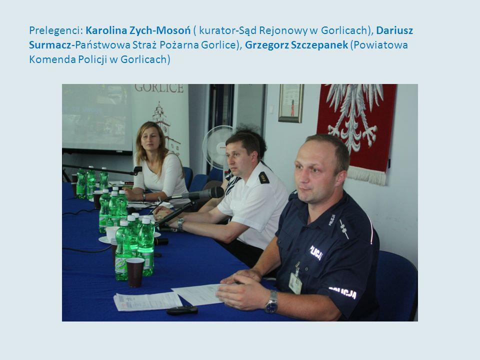 Prelegenci: Karolina Zych-Mosoń ( kurator-Sąd Rejonowy w Gorlicach), Dariusz Surmacz-Państwowa Straż Pożarna Gorlice), Grzegorz Szczepanek (Powiatowa