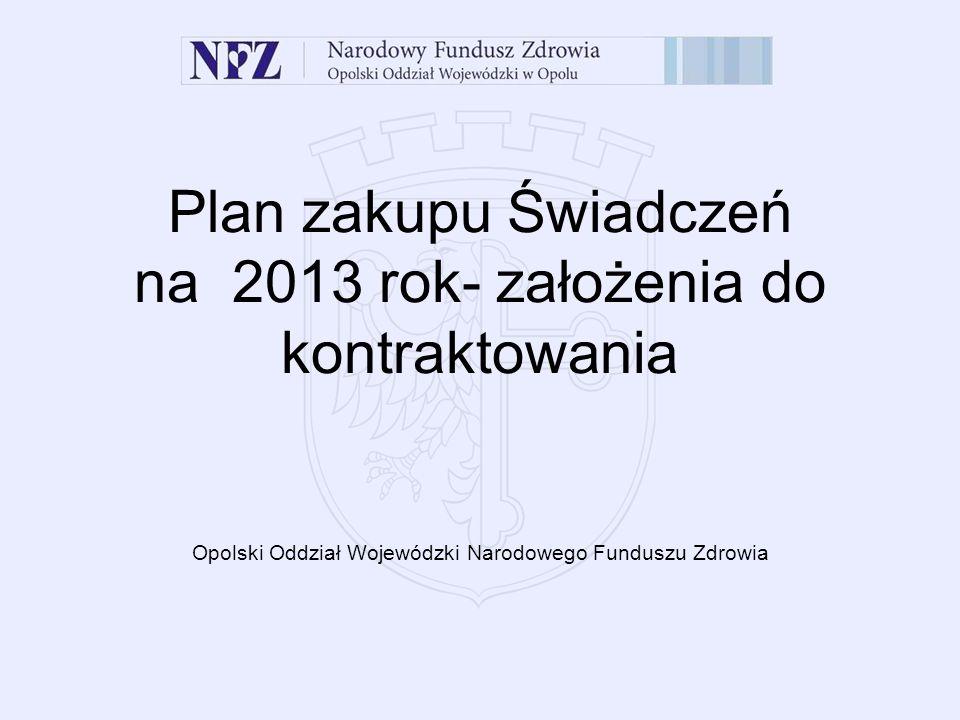 Plan zakupu Świadczeń na 2013 rok- założenia do kontraktowania Opolski Oddział Wojewódzki Narodowego Funduszu Zdrowia