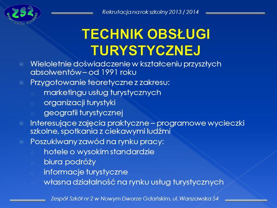 Zespół Szkół nr 2 w Nowym Dworze Gdańskim, ul. Warszawska 54 Rekrutacja na rok szkolny 2013 / 2014