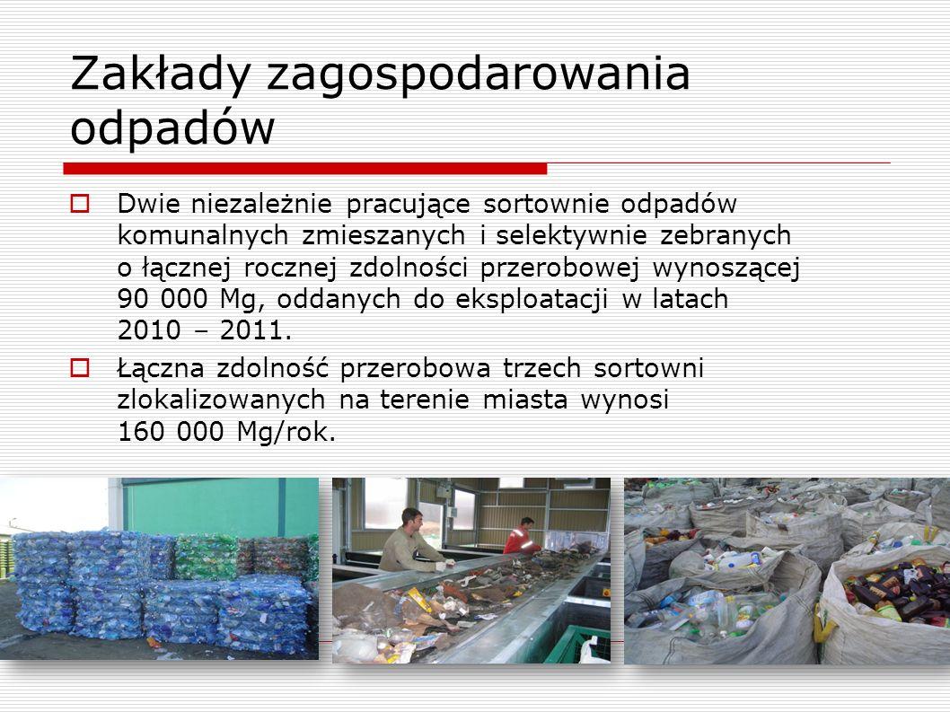 Zakłady zagospodarowania odpadów Dwie niezależnie pracujące sortownie odpadów komunalnych zmieszanych i selektywnie zebranych o łącznej rocznej zdolności przerobowej wynoszącej 90 000 Mg, oddanych do eksploatacji w latach 2010 – 2011.
