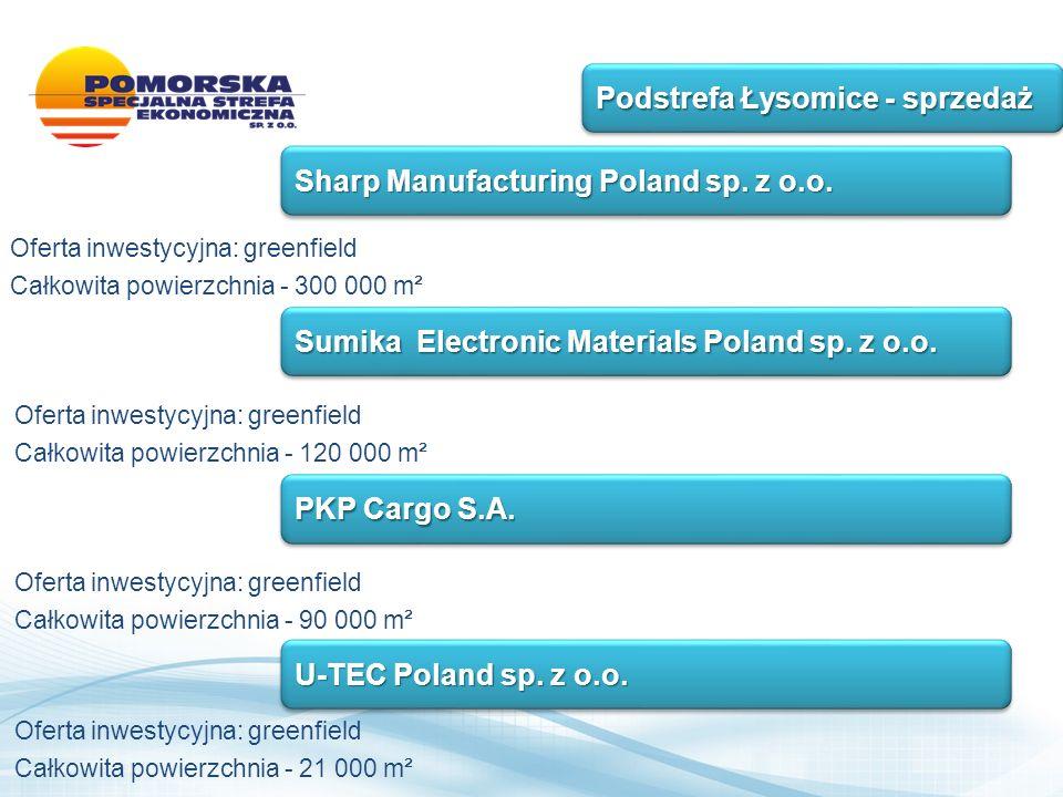 Oferta inwestycyjna: greenfield Całkowita powierzchnia - 300 000 m² Podstrefa Łysomice - sprzedaż Sharp Manufacturing Poland sp.