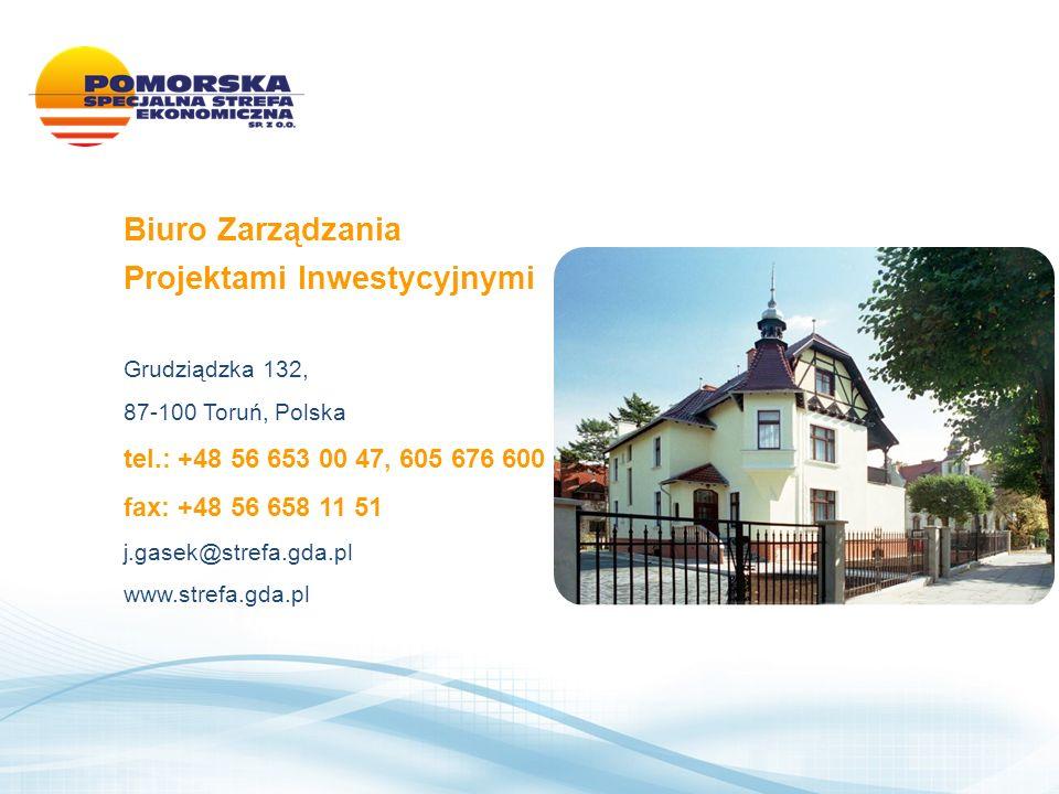 Biuro Zarządzania Projektami Inwestycyjnymi Grudziądzka 132, 87-100 Toruń, Polska tel.: +48 56 653 00 47, 605 676 600 fax: +48 56 658 11 51 j.gasek@strefa.gda.pl www.strefa.gda.pl