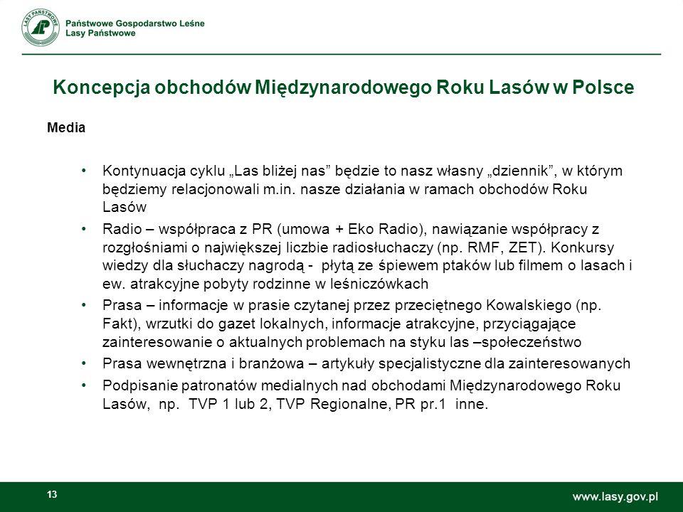13 Koncepcja obchodów Międzynarodowego Roku Lasów w Polsce Media Kontynuacja cyklu Las bliżej nas będzie to nasz własny dziennik, w którym będziemy re