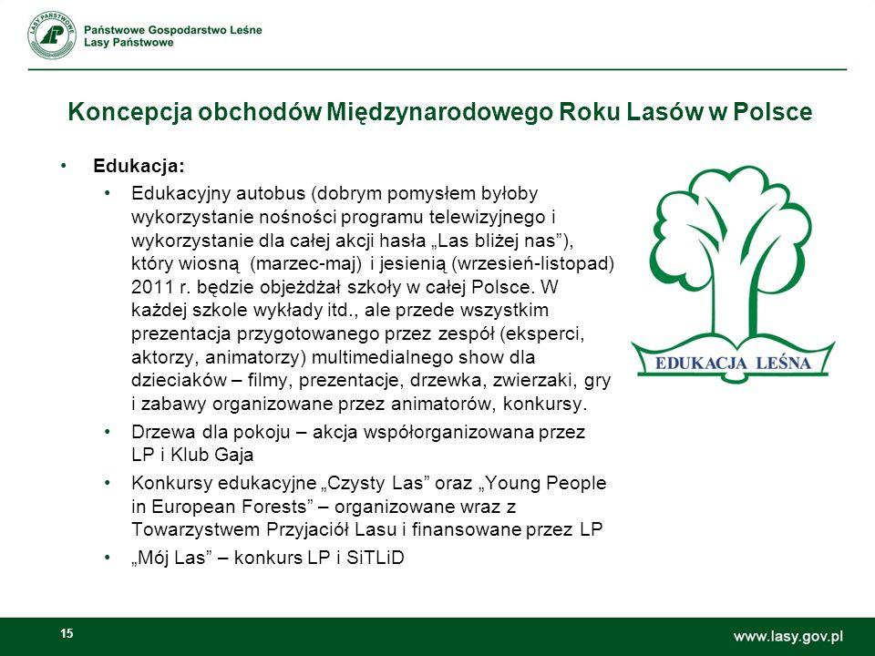 15 Koncepcja obchodów Międzynarodowego Roku Lasów w Polsce Edukacja: Edukacyjny autobus (dobrym pomysłem byłoby wykorzystanie nośności programu telewizyjnego i wykorzystanie dla całej akcji hasła Las bliżej nas), który wiosną (marzec-maj) i jesienią (wrzesień-listopad) 2011 r.