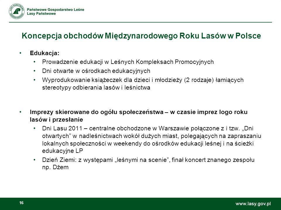 16 Koncepcja obchodów Międzynarodowego Roku Lasów w Polsce Edukacja: Prowadzenie edukacji w Leśnych Kompleksach Promocyjnych Dni otwarte w ośrodkach e